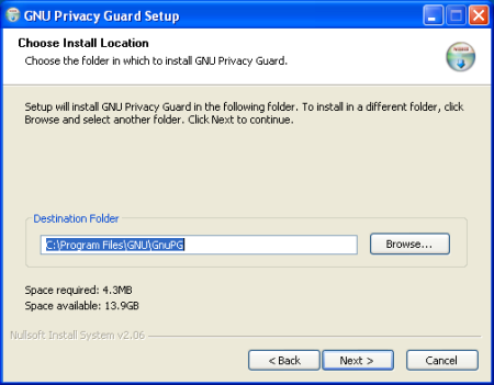 GPG Install Screenshot